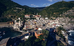 Vernazza and ocean coast in Cinque Terre, Italy Stock Image