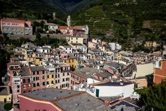 Vernazza and ocean coast in Cinque Terre, Italy Stock Photos