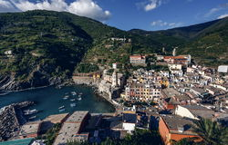 Vernazza and ocean coast in Cinque Terre, Italy Stock Images