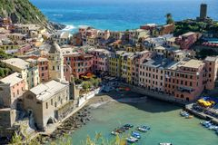 Italy, Cinque Terre landscape. Vernazza old fishing town view, one of the most iconic travel destinations in Europe, Italy Royalty Free Stock Photo