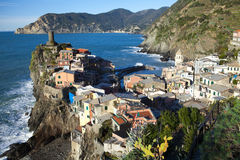 Vernazza Outcropping,the Cinque Terra Italy Stock Photo