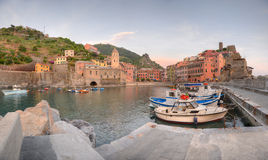 Vernazza panorama at sunset, Cinque Terre, Italy Royalty Free Stock Photos