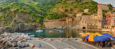 Vernazza panorama at sunset, Cinque Terre, Italy Royalty Free Stock Image