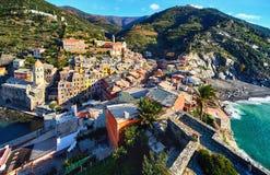 Vernazza, petit village côtier l'Italie Image libre de droits
