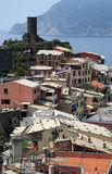 Vernazzas rooftops Italy. Detail of the colourful buildings of Vernazza, one of the stunningly beautiful  Italian Cinque Terre villages and a UNESCO world Stock Photos