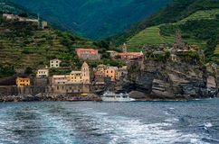Vernazza from the sea stock photography