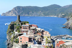 Vernazza stands proud on the Italian riviera Stock Photos