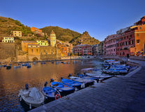 Vernazza sunset, Italy. Sunset in Vernazza fishing village, Cinque Terre, Italy Stock Image