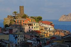 Vernazza tower in the morning light Royalty Free Stock Photos