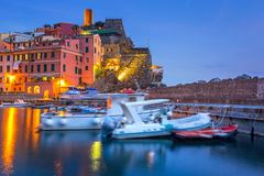 Vernazza town on the coast of Ligurian Sea Royalty Free Stock Images
