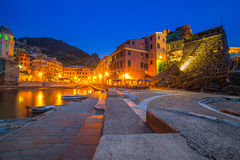 Vernazza town on the coast of Ligurian Sea. At dusk, Italy Royalty Free Stock Images