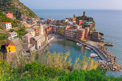Vernazza town on the coast of Ligurian Sea Royalty Free Stock Image