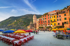 Vernazza town on the coast of Ligurian Sea Stock Image