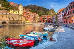 Vernazza town on the coast of Ligurian Sea Stock Photos