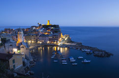 Vernazza town at twilight Stock Photo