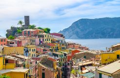 Vernazza traditional typical Italian village in National park Cinque Terre royalty free stock photo