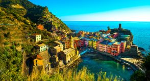 Vernazza village, aerial panoramic view. Cinque Terre, Ligury, I. Vernazza village, aerial panoramic view. Cinque Terre National Park, Liguria Italy Europe Stock Photography