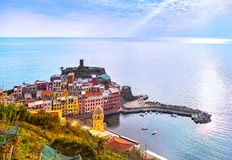 Vernazza village, aerial panoramic view. Cinque Terre, Ligury, I. Vernazza village, aerial panoramic view. Cinque Terre National Park, Liguria Italy Europe Stock Image