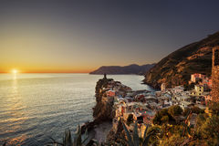 Vernazza village, aerial view on red sunset. Cinque Terre, Ligur Royalty Free Stock Image
