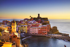 Vernazza village, aerial view on sunset. Cinque Terre, Ligury, I Stock Image