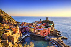 Vernazza village, aerial view on sunset. Cinque Terre, Ligury, I Royalty Free Stock Image