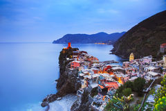 Vernazza village, aerial view on sunset. Cinque Terre, Ligury, I Royalty Free Stock Images