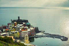 Vernazza village, aerial view on sunset. Cinque Terre, Ligury, I Royalty Free Stock Photos