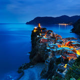 Vernazza village, aerial view on sunset. Cinque Terre, Ligury, I Stock Images