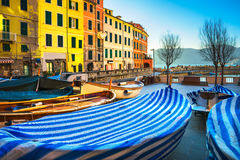 Vernazza village, boats in square and colorful houses. Cinque Te Royalty Free Stock Images