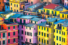 Vernazza village, buildings aerial view. Cinque Terre, Ligury, I Royalty Free Stock Images