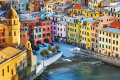 Vernazza village, church and buildings aerial view. Cinque Terre. Vernazza village, church and buildings aerial view. Seascape in Five lands, Cinque Terre Stock Photography
