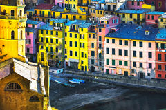 Vernazza village, church and buildings aerial view. Cinque Terre Stock Image