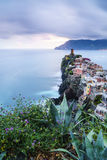 Vernazza village in Cinque Terre, Italy at sunset Stock Image