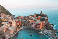Vernazza in Cinque Terre National Park in Italy royalty free stock photos