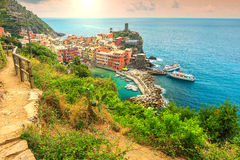 Vernazza village and fantastic sunrise,Cinque Terre,Italy,Europe Royalty Free Stock Photos