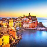 Vernazza village, panoramic view on sunset. Cinque Terre, Ligury Stock Photo
