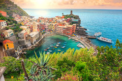 Vernazza village and stunning sunrise,Cinque Terre,Italy,Europe. Panorama of Vernazza and suspended garden,Cinque Terre National Park,Liguria,Italy,Europe royalty free stock photos