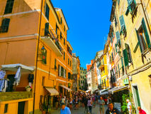 Vernazza Włochy, Wrzesień, - 09, 2015: Środkowa ulica Vernazza Obraz Royalty Free