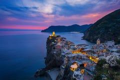 Vernazza y puesta del sol Fotografía de archivo libre de regalías