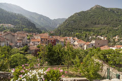 Vernet Les Bains,Occitanie,France. View of Vernet-les-Bains, french village in pyrenees mountain. Vernet-les-Bains, France Stock Photos