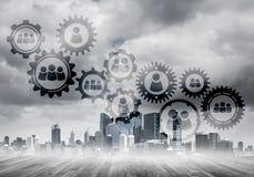 Vernetzung und Sozialkommunikation als Durchschnitte für effektive Geschäftsstrategie Lizenzfreies Stockbild