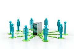 Vernetzungsleute mit Server Lizenzfreie Stockfotos