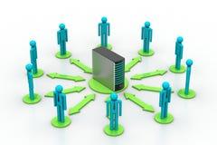 Vernetzungsleute mit Server Lizenzfreies Stockbild