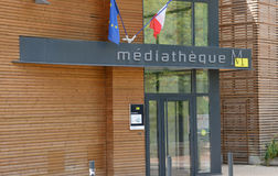 Verneuil sur Seine; city, France - july 9 2015 : multimedia libr Stock Photo