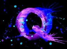 Vernice al neon dell'acquerello - lettera Q illustrazione vettoriale