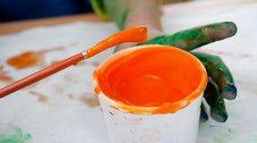 Vernice arancione Immagini Stock