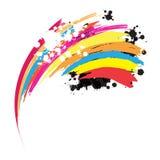 Vernice astratta dell'inchiostro del Rainbow Fotografia Stock Libera da Diritti
