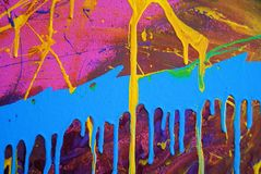 Vernice blu & dentellare & gialla astratta Fotografia Stock