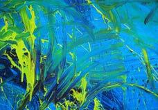 Vernice blu & gialla astratta Fotografia Stock