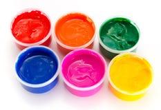 Vernice colorata di gouache Fotografia Stock